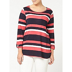 Evans - Navy and pink striped top