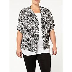 Evans - White/black tile print kimono