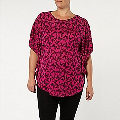 Evans - Pink butterfly print cape top
