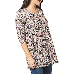 Evans - Grey soft touch multi floral swing tunic