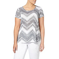 Evans - White printed textured t-shirt