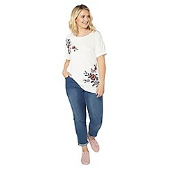 Evans - Ivory floral embroidered t-shirt