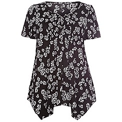 Evans - Black/ivory daisy  print honeycomb  top