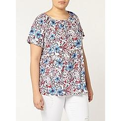 Evans - Floral print gypsy top