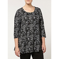 Evans - Black animal printed tunic