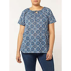 Evans - Blue tile print gypsy top