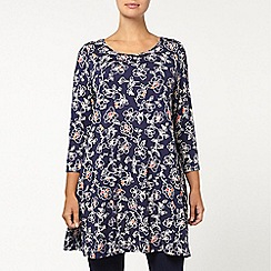 Evans - Navy floral swing tunic