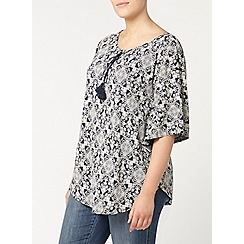 Evans - Navy printed cape top