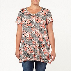 Evans - Pansy printed swing tunic