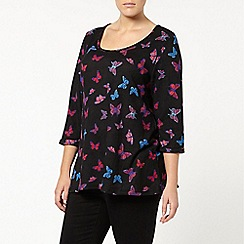 Evans - Black butterfly printed tunic