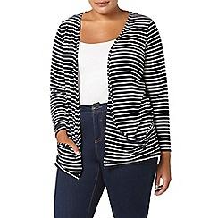 Evans - Navy striped cardigan