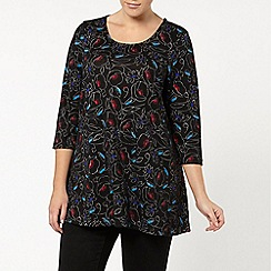 Evans - Black floral printed swing top
