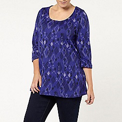 Evans - Blue soft touch aztec print top