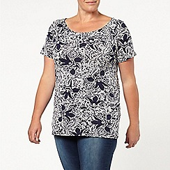 Evans - Printed short sleeve bardot top