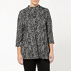 Evans - Black aztec roll neck top