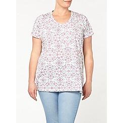 Evans - Ivory floral v neck t-shirt