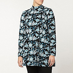 Evans - Green & black floral roll neck tunic