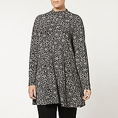 Evans - Monochrome tile printed roll neck swing tunic