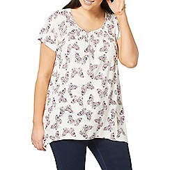 Evans - Ivory butterfly print top