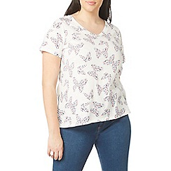 Evans - Ivory butterfly print t-shirt