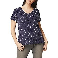Evans - Navy blue heart print t-shirt
