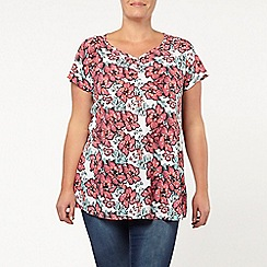 Evans - Ivory floral sweetheart top
