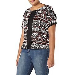 Evans - Red print elasticated hem top