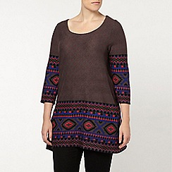 Evans - Grey aztec border swing top