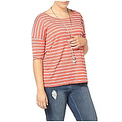 Evans - Coral pink striped top