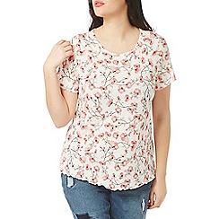 Evans - Pink floral diamante t-shirt