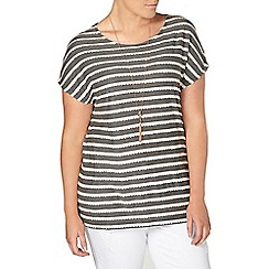 Evans - Grey frill striped top