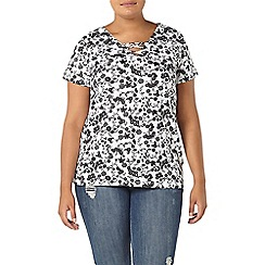 Evans - Ivory floral print lace up top