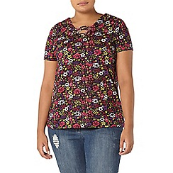Evans - Black multicoloured floral print top
