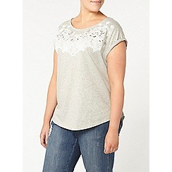 Evans - Grey floral detail top