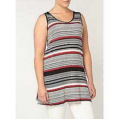 Evans - Red stripe v neck tunic