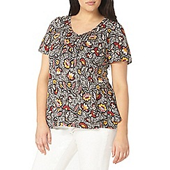Evans - Black printed pintuck top