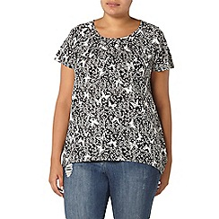 Evans - Black butterfly print top