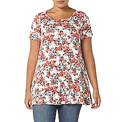 Evans - Ivory butterfly print swing top