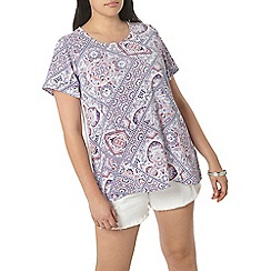 Evans - Ivory and print woven top