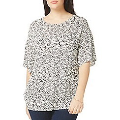 Evans - Ivory print frill sleeves top