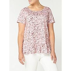 Evans - Peach pink floral print frill top