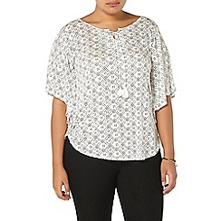 Evans - Ivory printed cape top