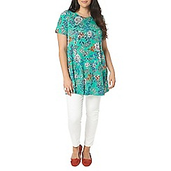 Evans - Green floral print tunic