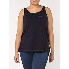 Evans - Navy contrast stitch vest top