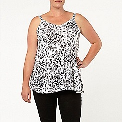Evans - Ivory floral print frill camisole