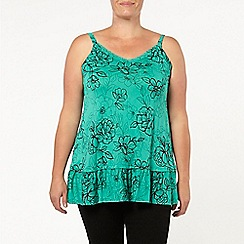 Evans - Green floral print frill camisole