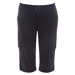 Evans - Black long combat pocket shorts