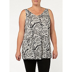 Evans - Black/ivory paisly swing cami