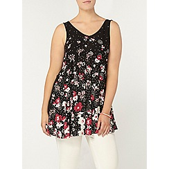 Evans - Black floral print swing vest