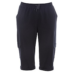 Evans - Navy long combat pocket shorts